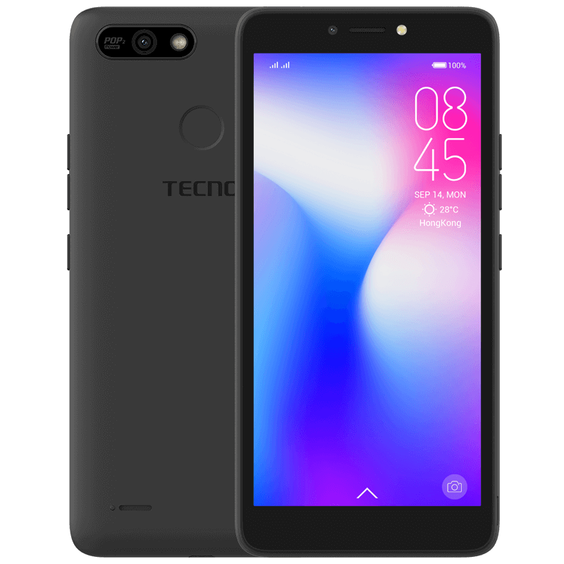 Tecno POP2 Power, Android 8.1, 5.5 Inches, 16GB +1GB, 8MP And 5MP,Face detection Unlock, Finger Print , 4000mAH, Black [ clone ]