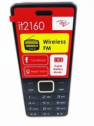 itel 2160 , wireless FM Radio , bar- phone design ,512MB memory , super Battery (1000mAh ) black